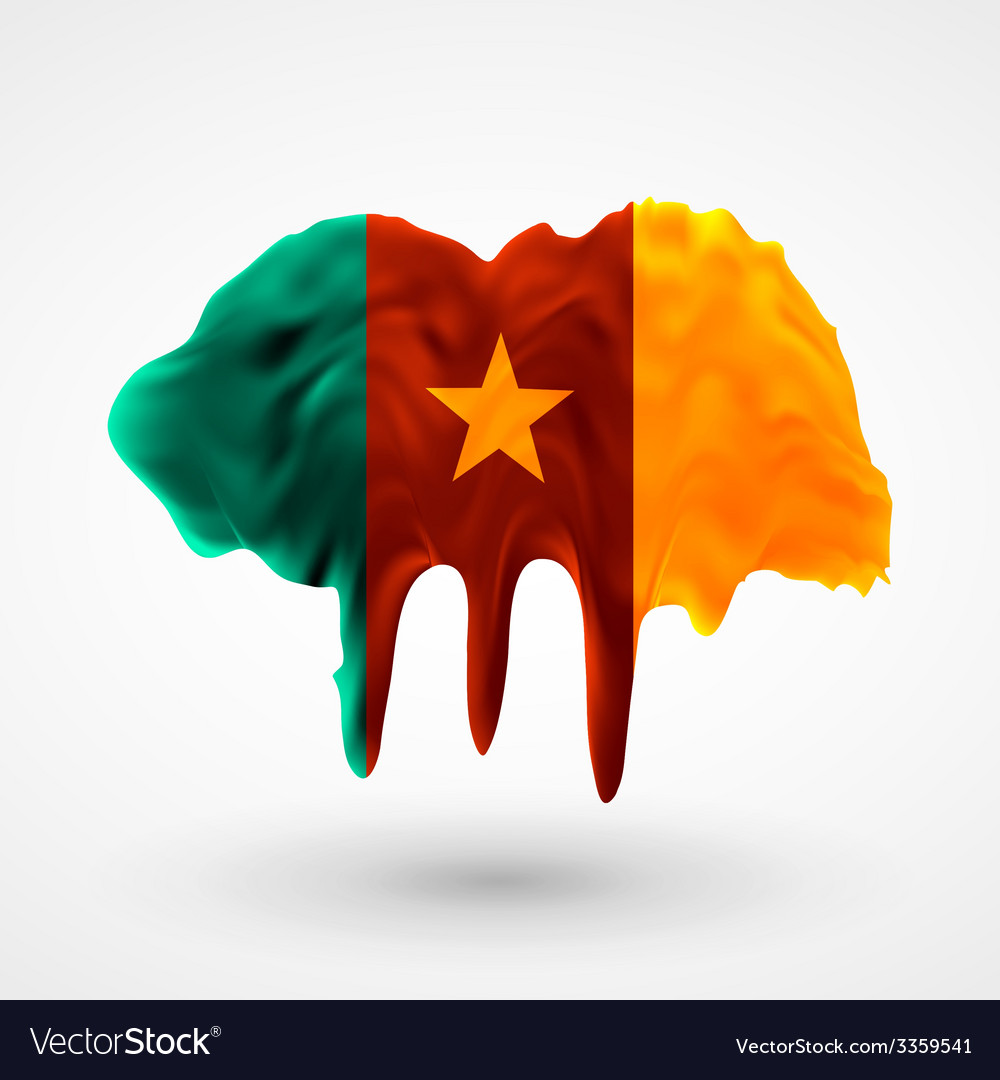 Flag of cameroon painted colors vector | Price: 3 Credit (USD $3)