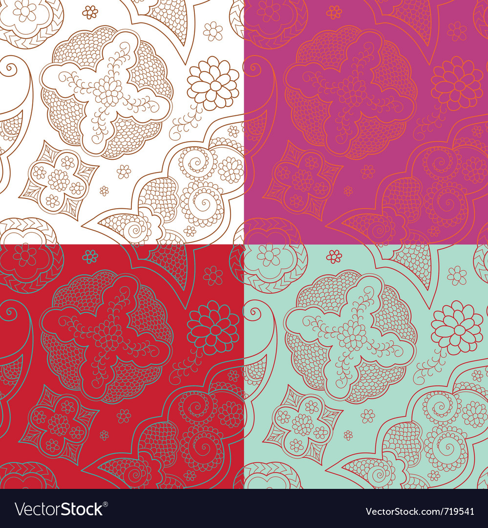 Four indian henna ornament seamless vector | Price: 1 Credit (USD $1)
