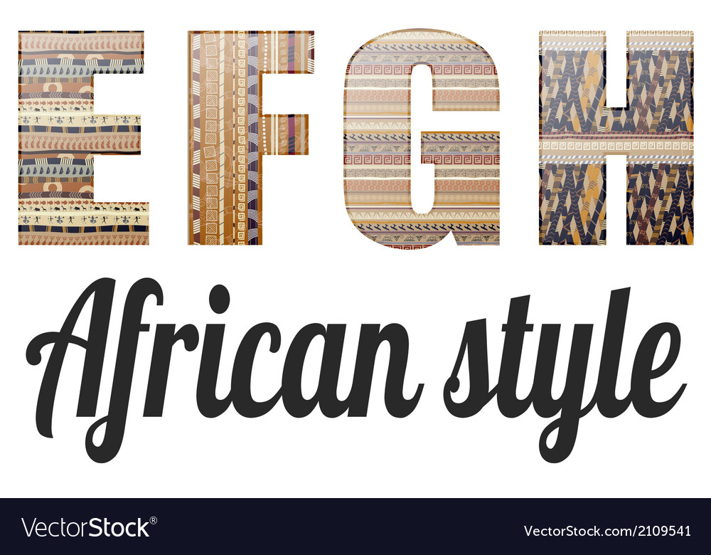 Four letters of the alphabet in the african style vector | Price: 1 Credit (USD $1)