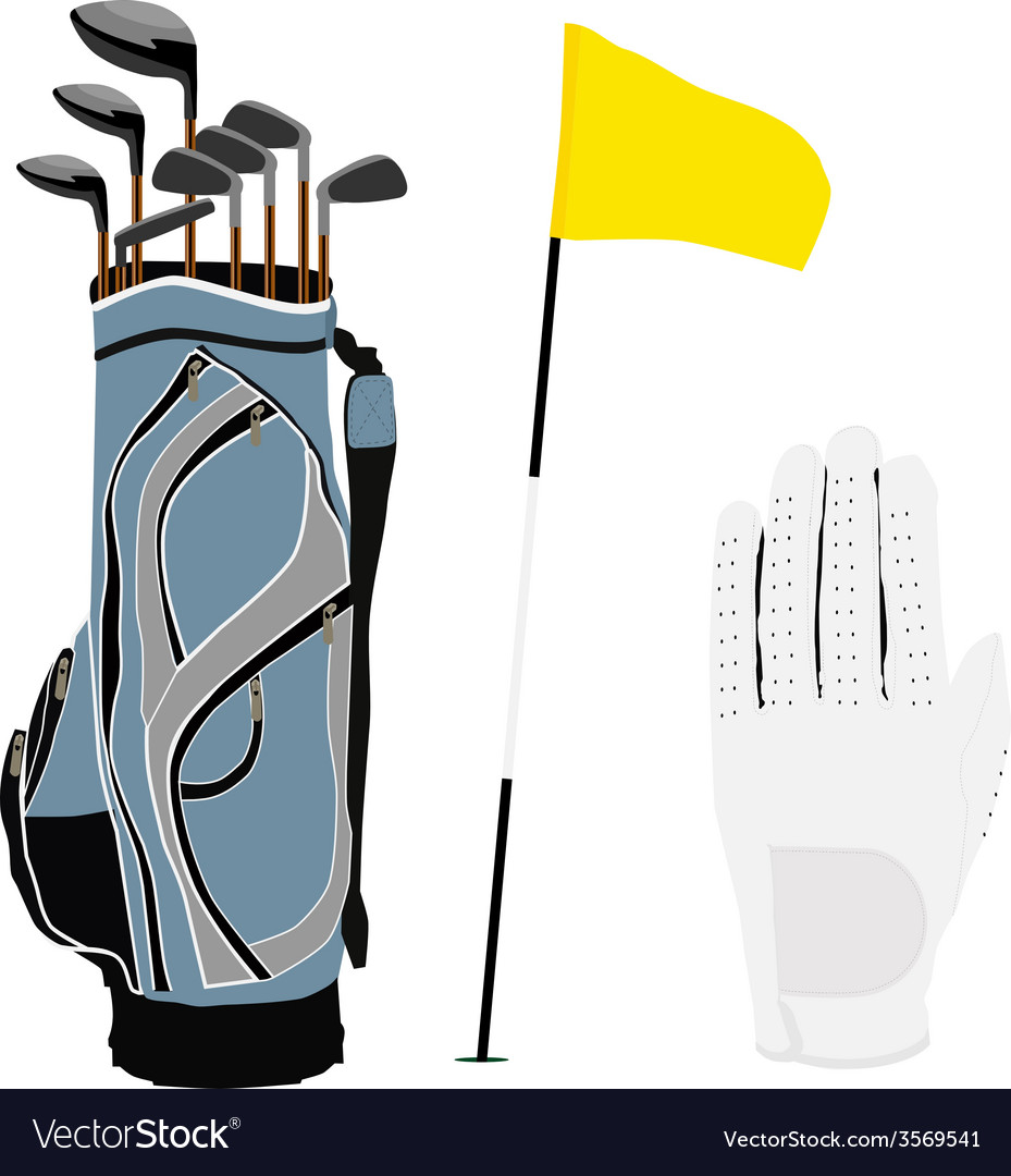 Golf clubs bag flag and white glove vector | Price: 1 Credit (USD $1)