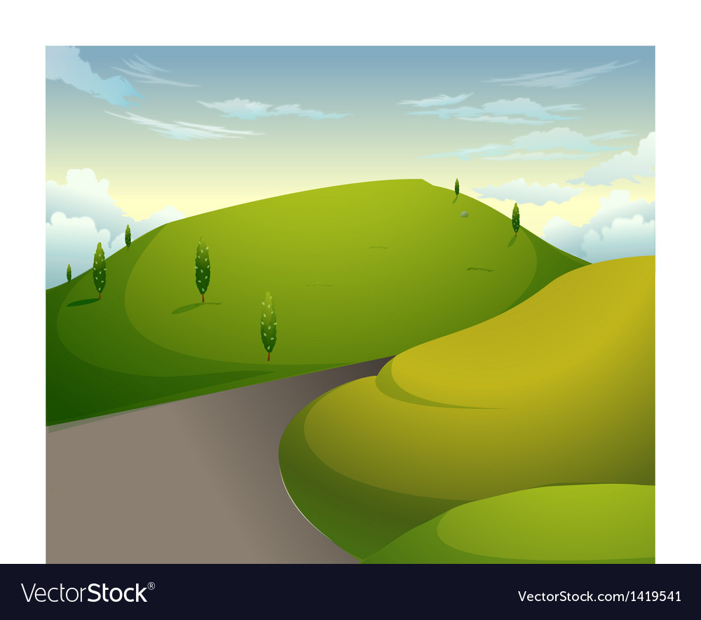 Green mountains blue sky vector | Price: 1 Credit (USD $1)