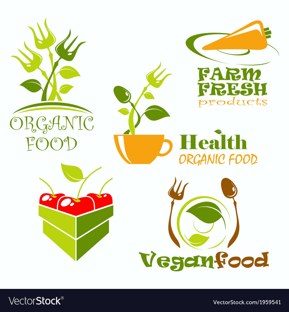 Icons and symbols for organic food vector | Price: 1 Credit (USD $1)