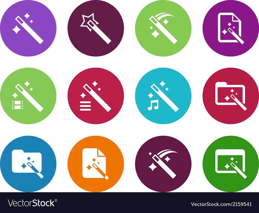 Magician circle icons isolated vector | Price: 1 Credit (USD $1)