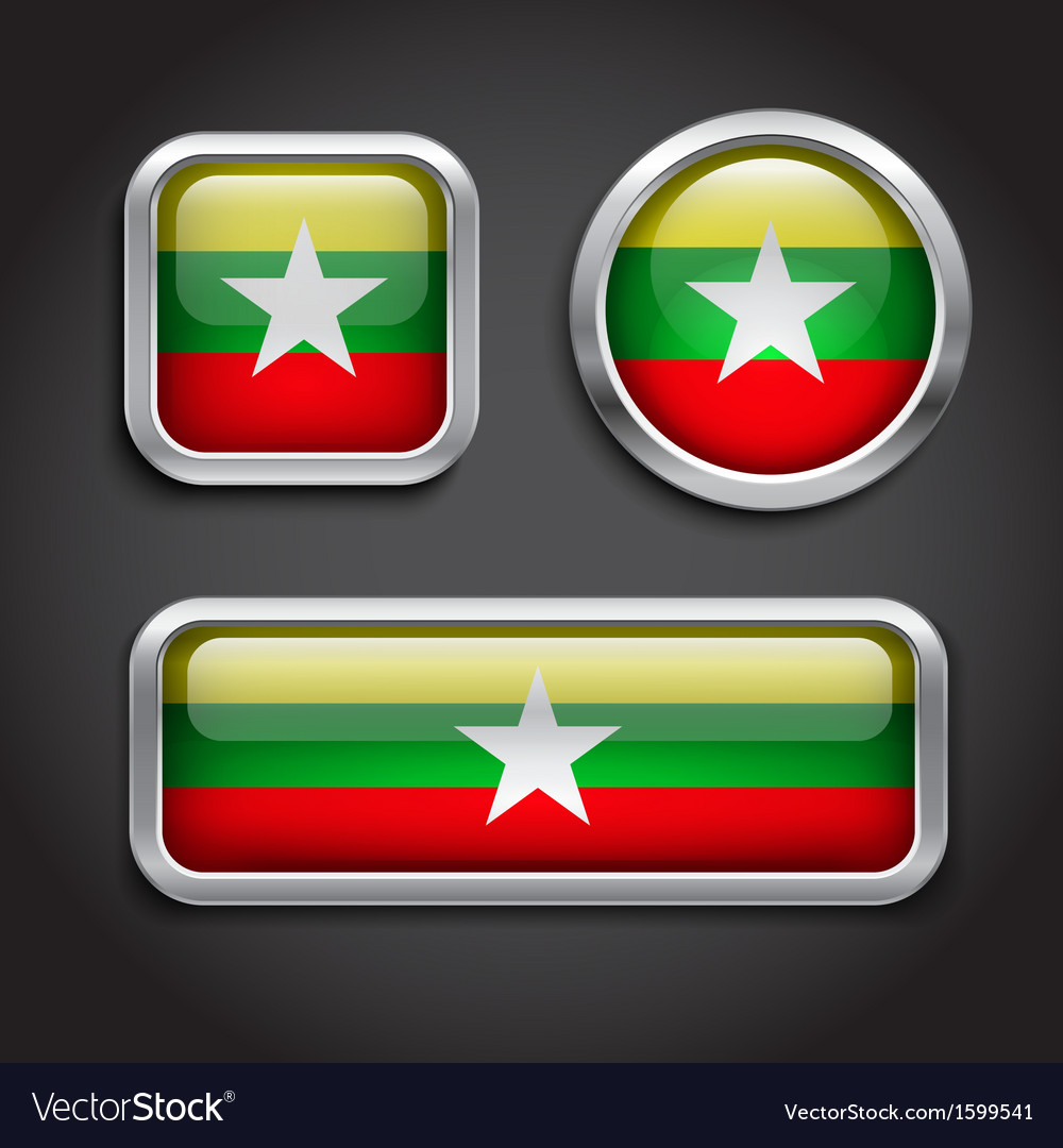 Myanmar flag glass buttons vector | Price: 1 Credit (USD $1)