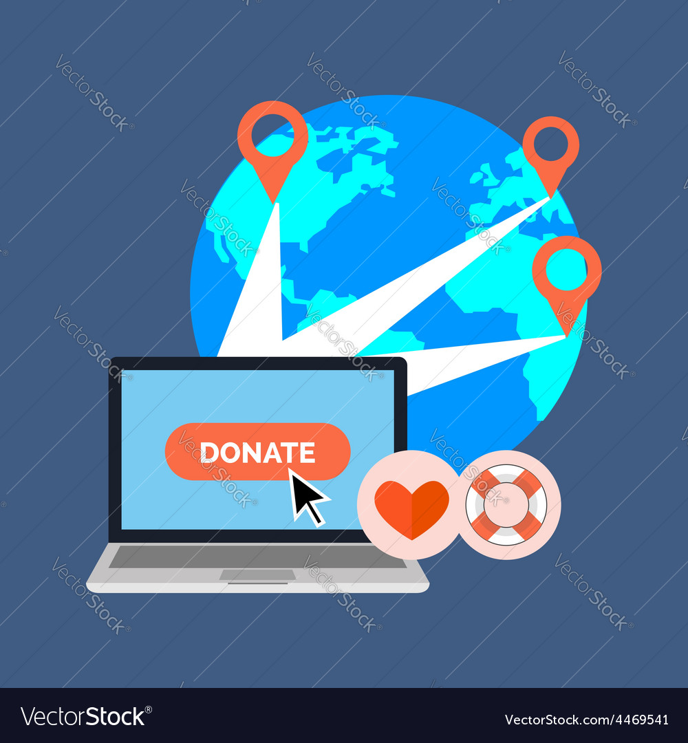 Online charity donate concept flat design isolated vector | Price: 1 Credit (USD $1)