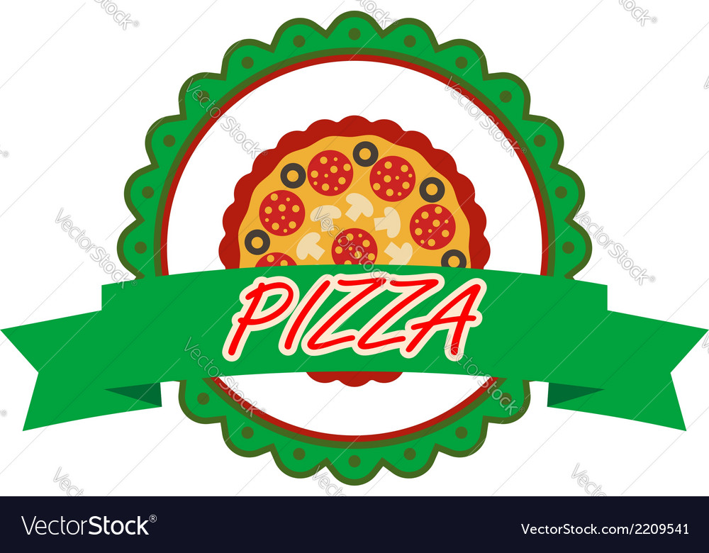 Pizza label or banner vector | Price: 1 Credit (USD $1)