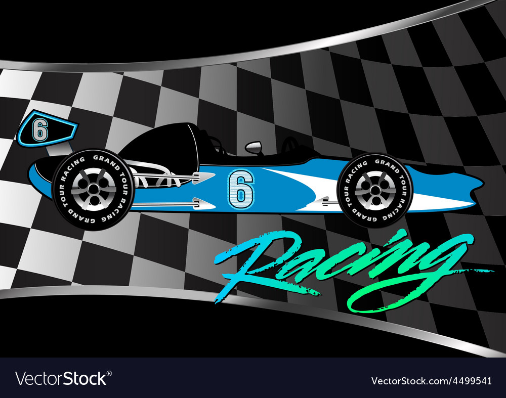 Race car poster on checkered flag with script vector | Price: 1 Credit (USD $1)