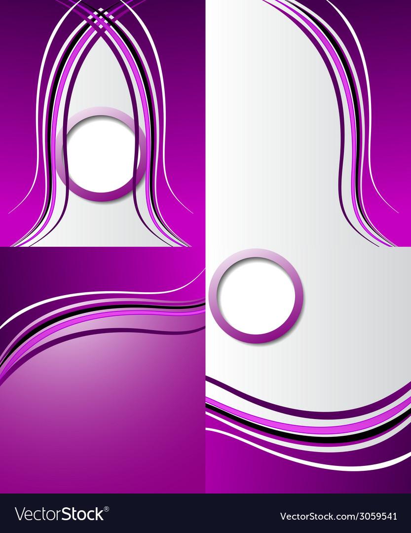 Set of purple backgrounds design frame line shadow vector | Price: 1 Credit (USD $1)
