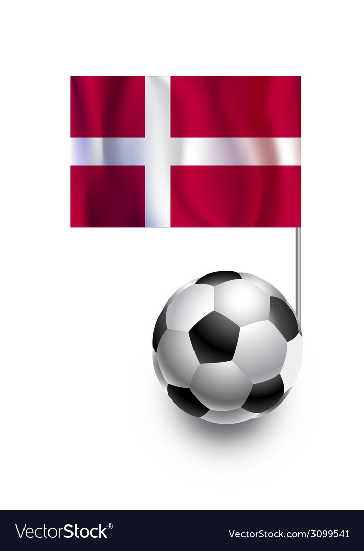 Soccer balls or footballs with flag of denmark vector | Price: 1 Credit (USD $1)