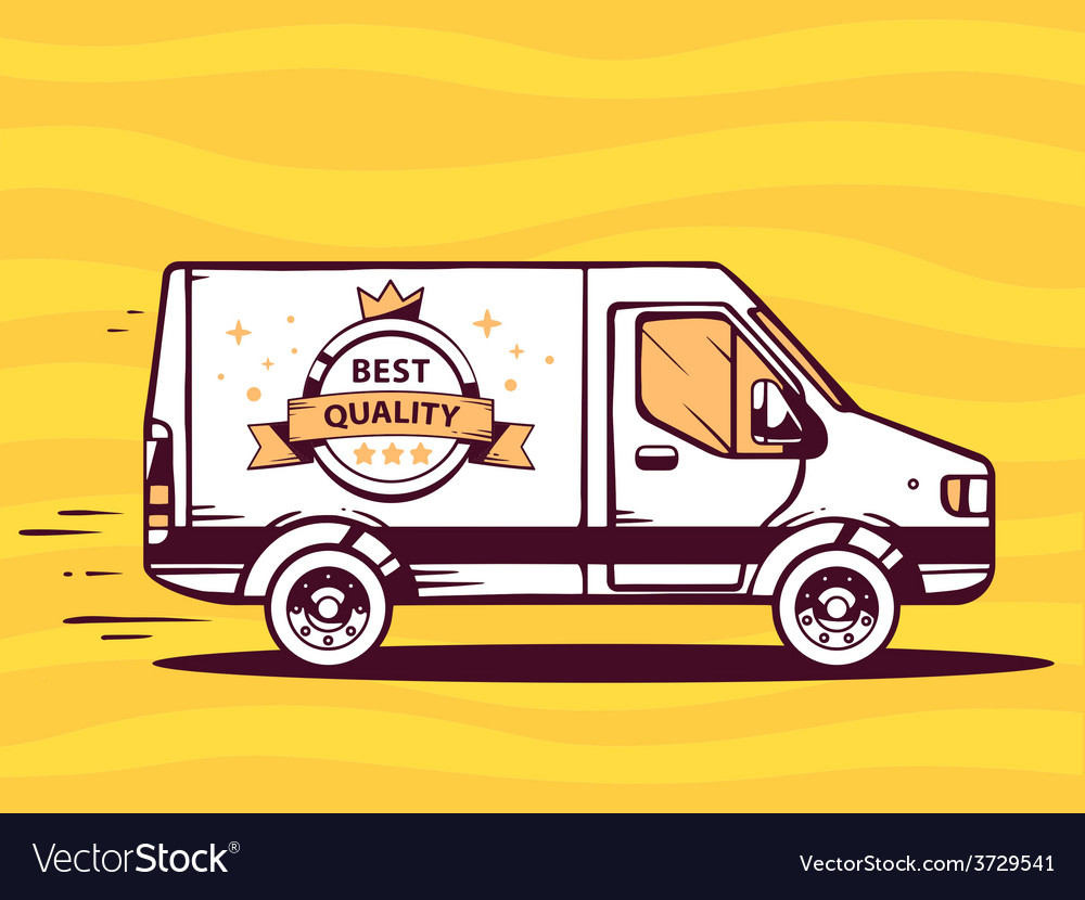 Van with label best quality free and fast vector | Price: 1 Credit (USD $1)