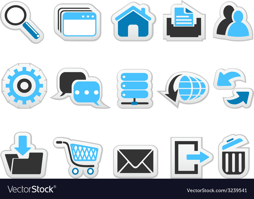 Web internet button icons set vector | Price: 1 Credit (USD $1)
