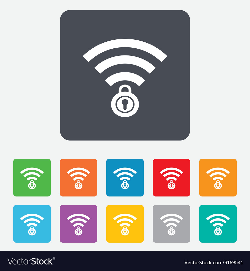 Wifi locked sign pass wi-fi symbol wireless vector | Price: 1 Credit (USD $1)