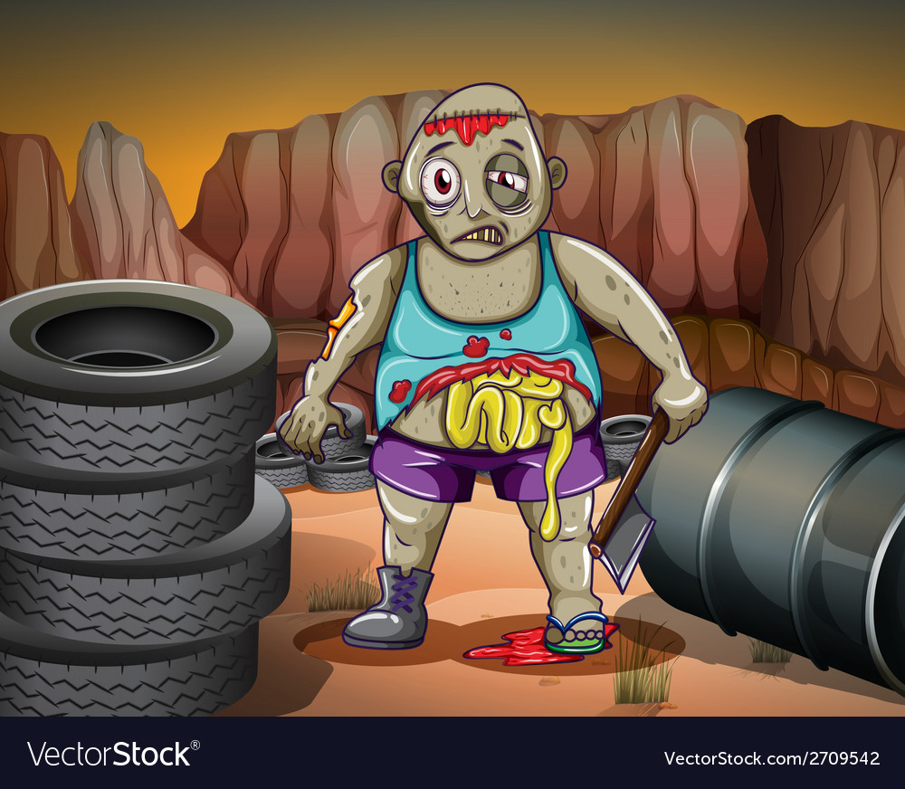 A zombie near the tires and the barrel vector | Price: 3 Credit (USD $3)