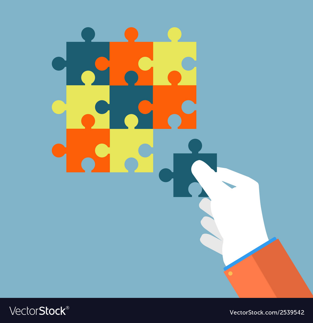 Businessman assembling jigsaw puzzle vector | Price: 1 Credit (USD $1)