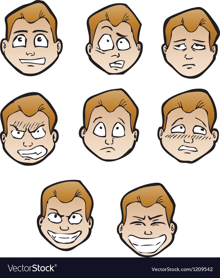 Cartoon emotional faces male vector | Price: 1 Credit (USD $1)