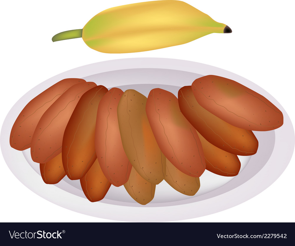 Delicious sun dried bananas on a dish vector | Price: 1 Credit (USD $1)