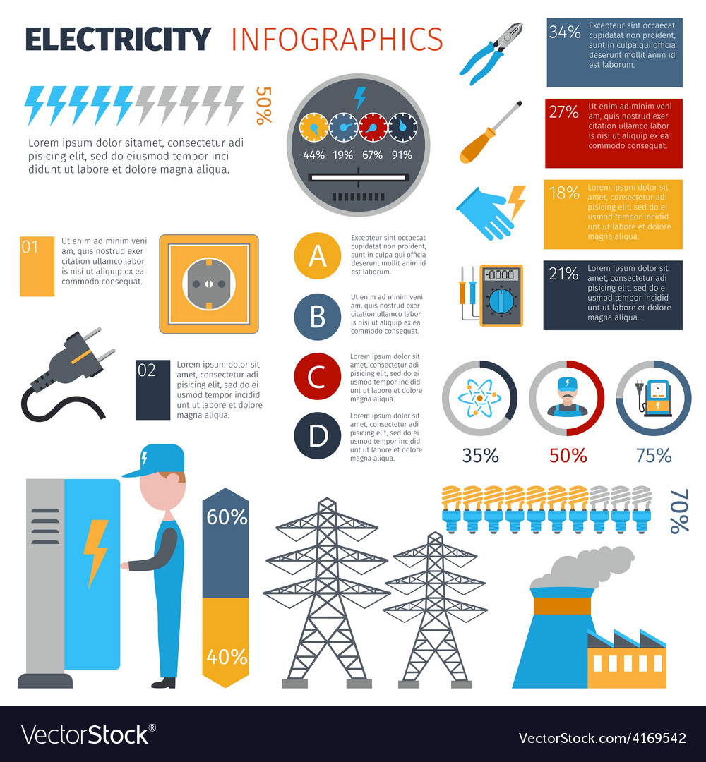 Electricity infographics set vector | Price: 1 Credit (USD $1)