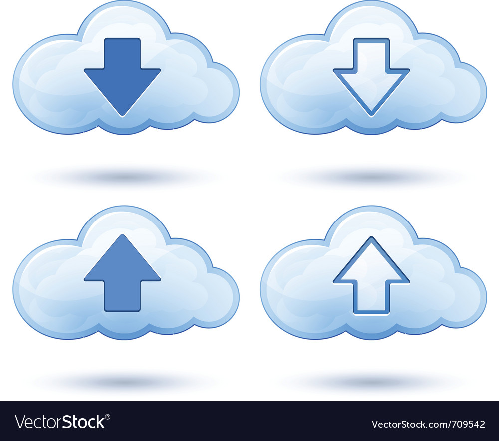 Glossy cloud with arrow vector | Price: 1 Credit (USD $1)