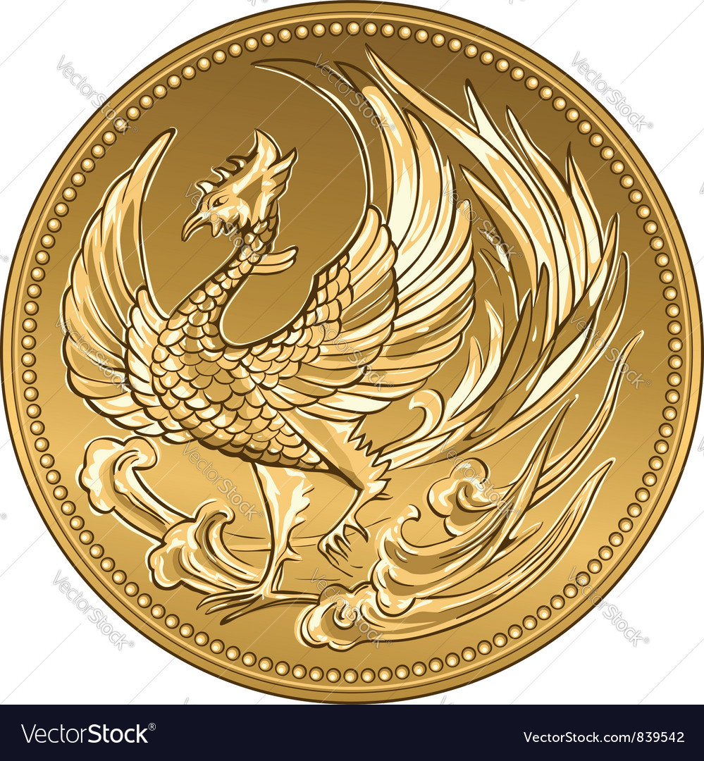 Japanese money gold coin with phoenix vector | Price: 1 Credit (USD $1)