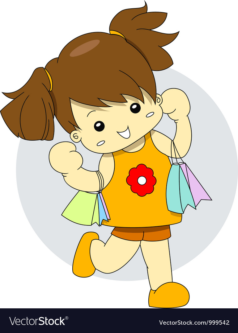 Shopaholic young girl is holding many shopping bag vector | Price: 1 Credit (USD $1)