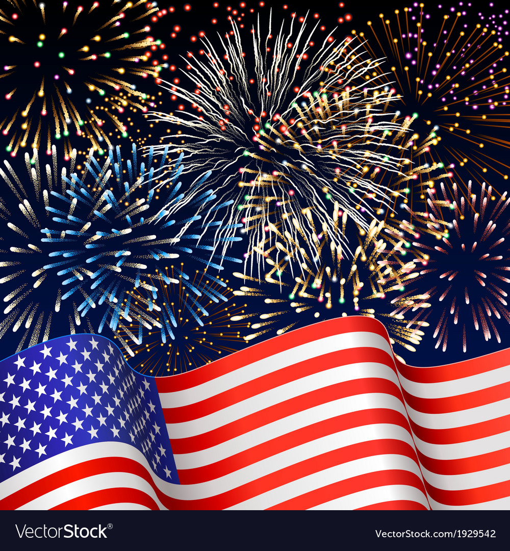 Usa flag with fireworks vector | Price: 1 Credit (USD $1)