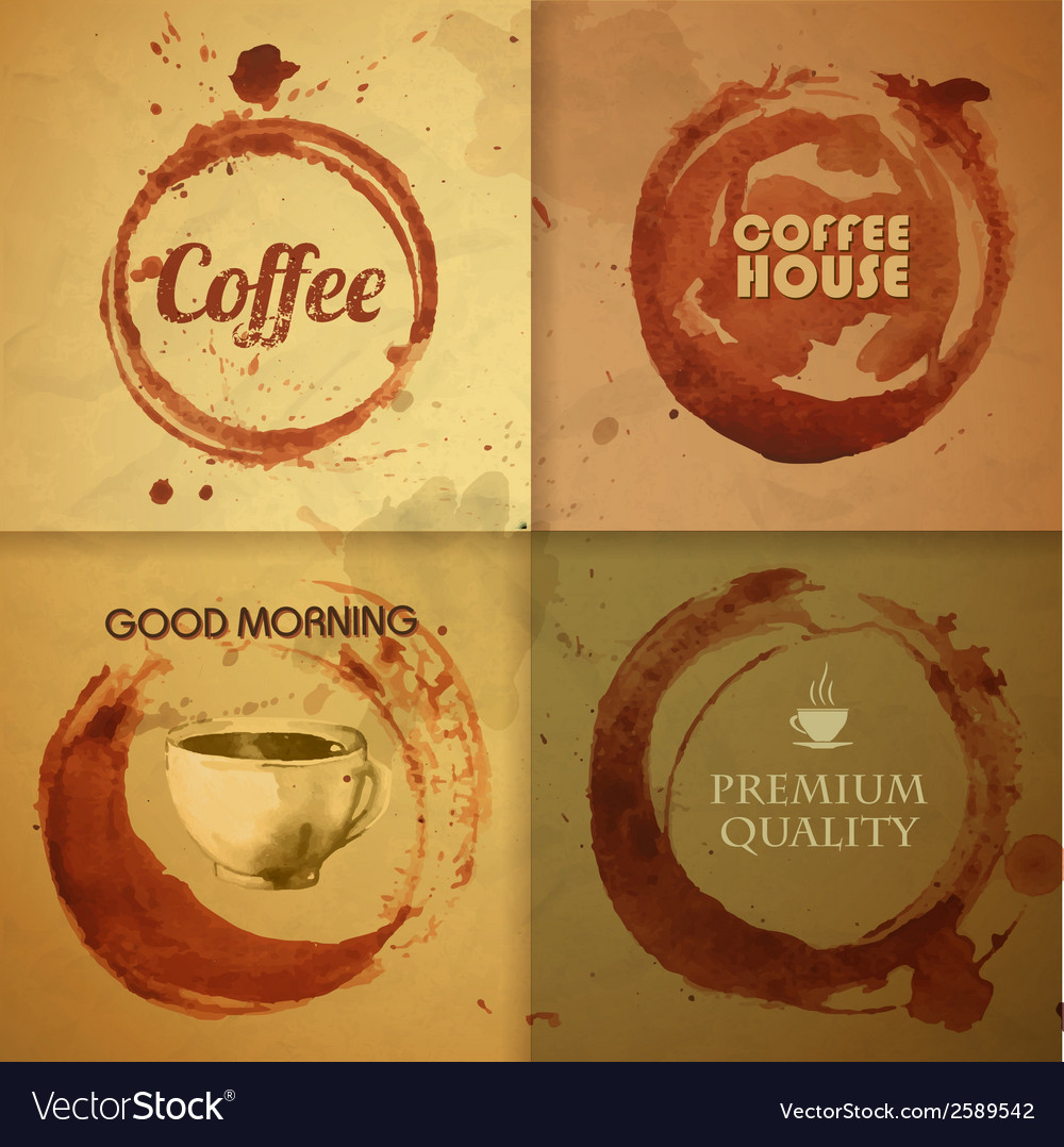 Watercolor vintage coffee stain background vector | Price: 1 Credit (USD $1)
