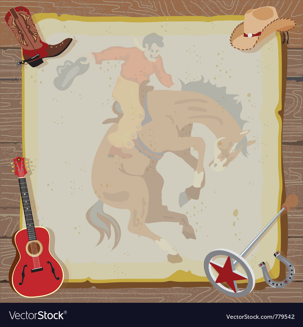 Western rodeo cowboy vector | Price: 1 Credit (USD $1)