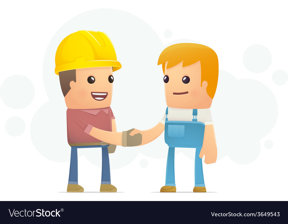 Agreement between the builder and mechanic vector | Price: 1 Credit (USD $1)