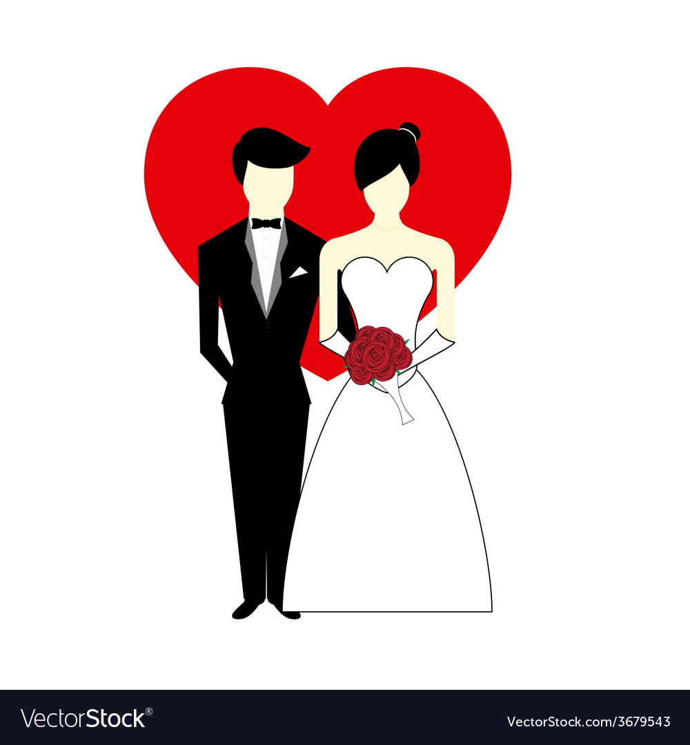 Bride and groom with heart vector | Price: 1 Credit (USD $1)