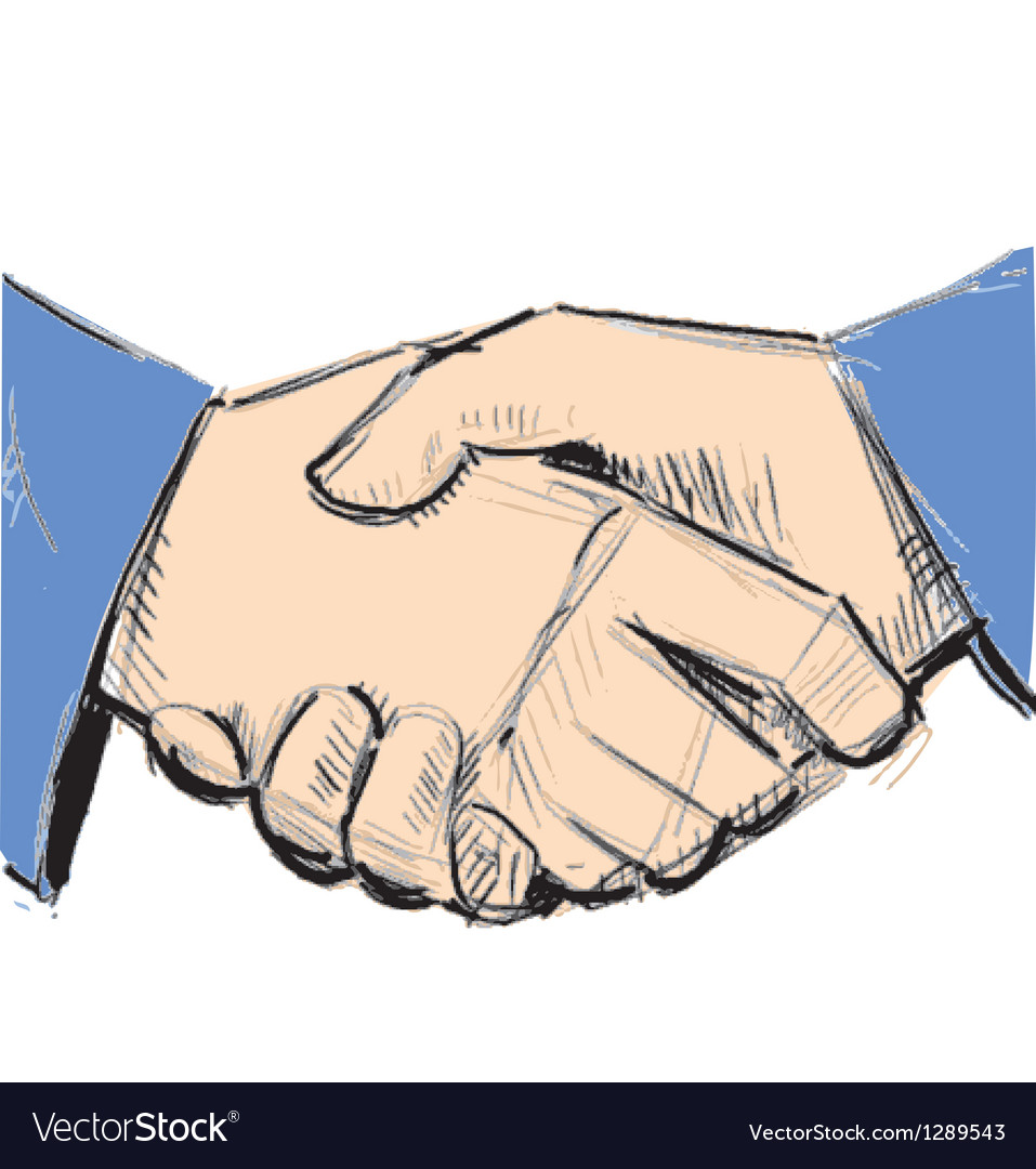 Business hand shake between two people vector | Price: 1 Credit (USD $1)