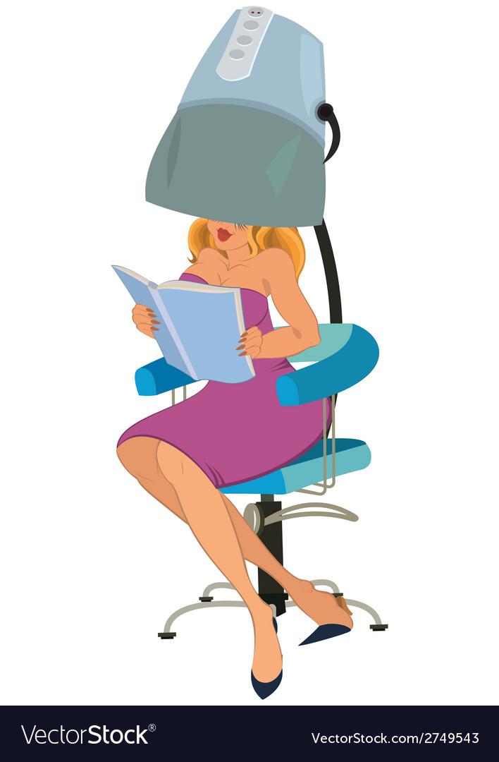 Cartoon woman sitting under blow dryer vector | Price: 1 Credit (USD $1)