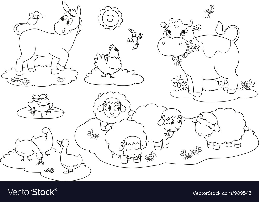 Coloring farm animals vector | Price: 1 Credit (USD $1)