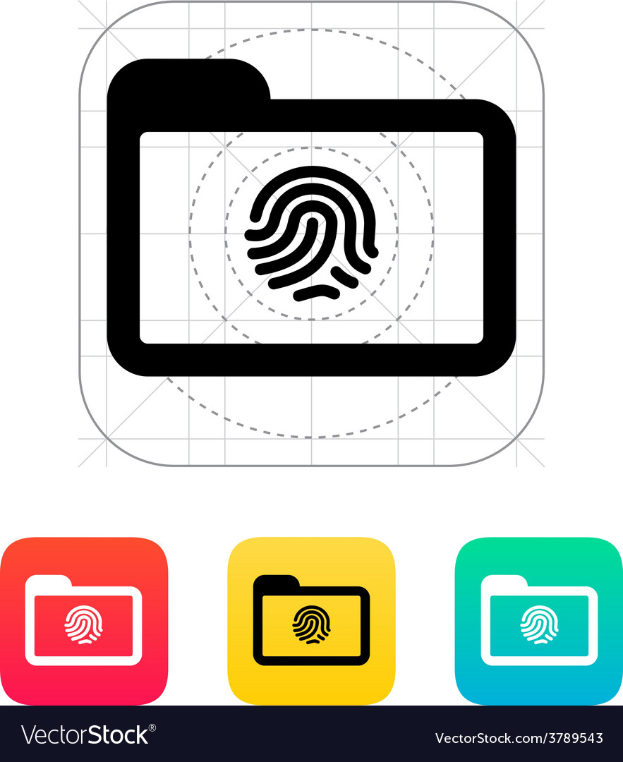 Folder with fingerprint icon vector | Price: 1 Credit (USD $1)