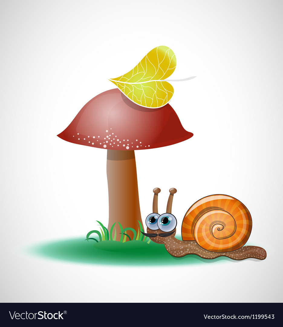 Funny snail near mushroom vector | Price: 3 Credit (USD $3)