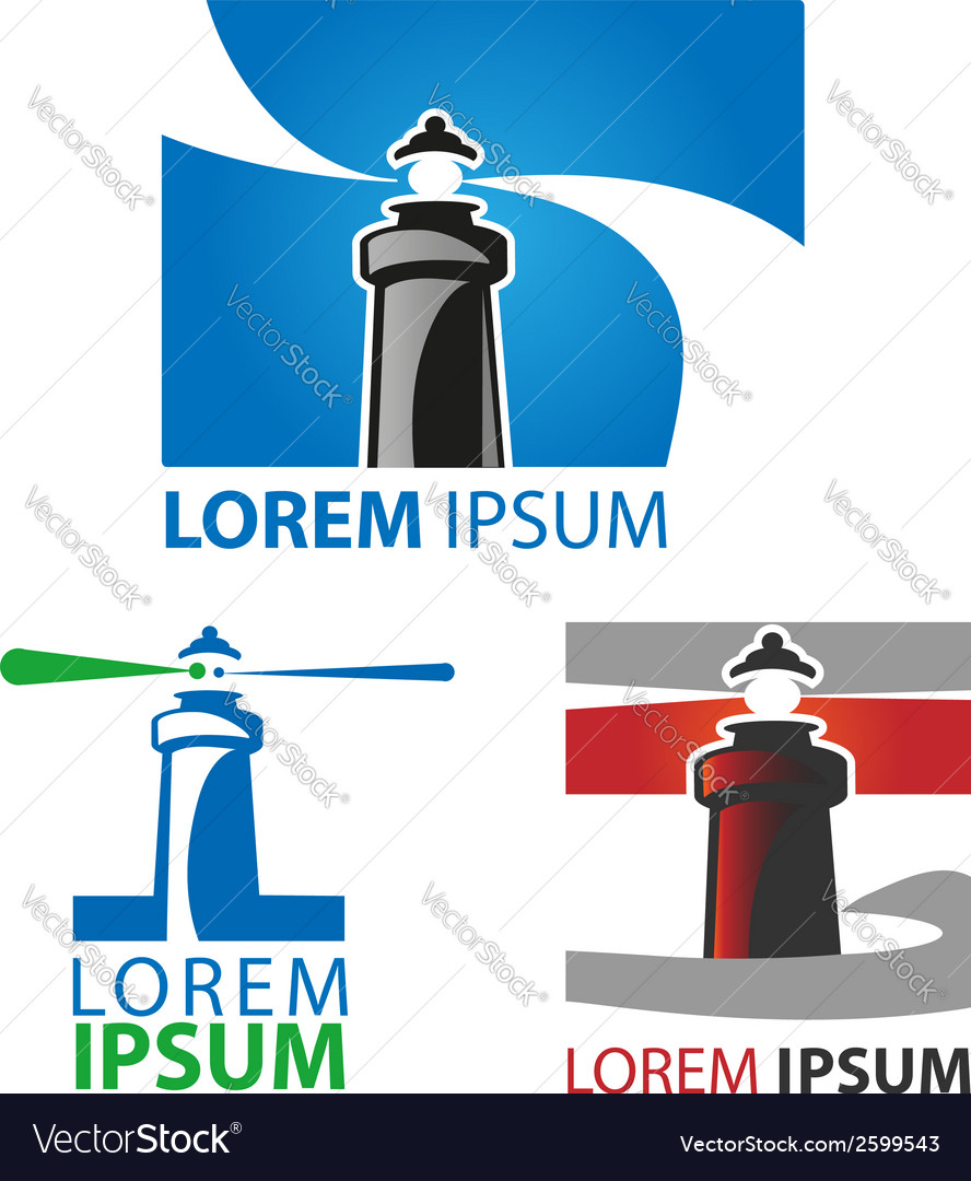 Lighthouse symbol set vector | Price: 1 Credit (USD $1)