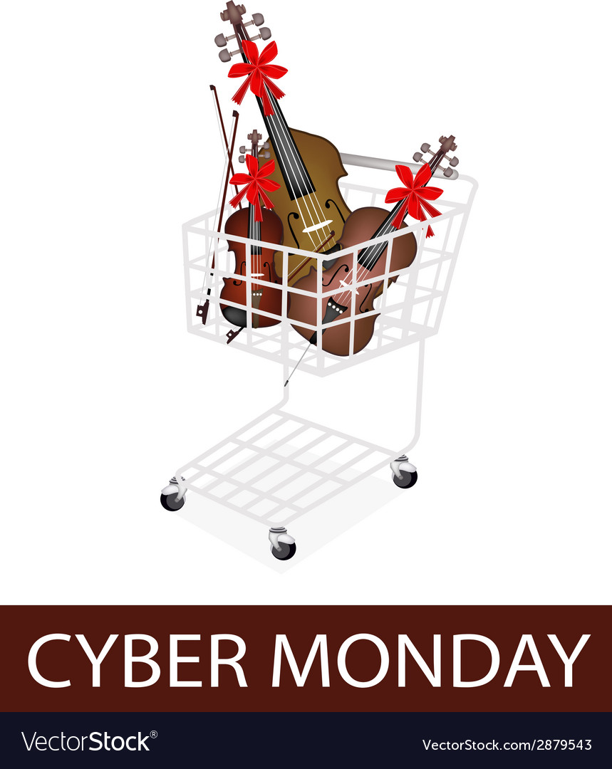 Musical instrument strings in cyber monday cart vector | Price: 1 Credit (USD $1)