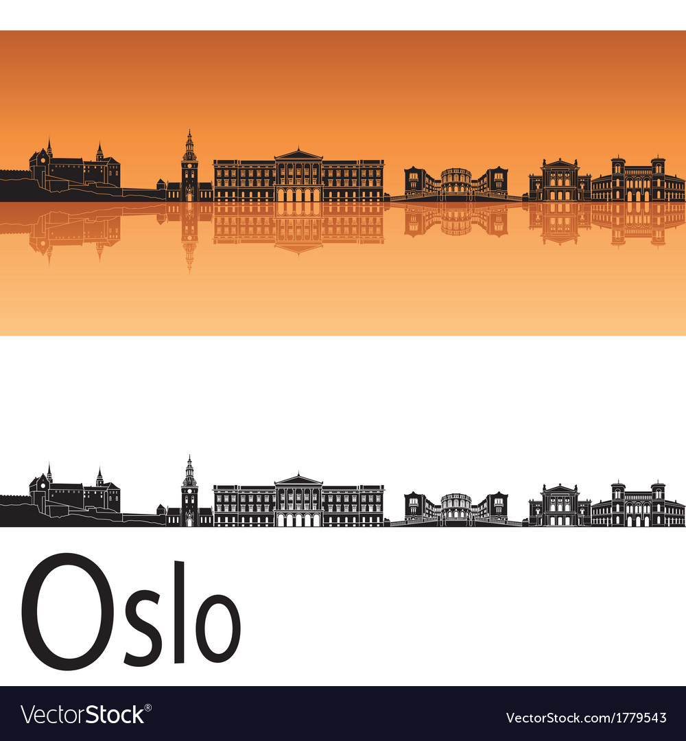 Oslo skyline in orange background vector | Price: 1 Credit (USD $1)