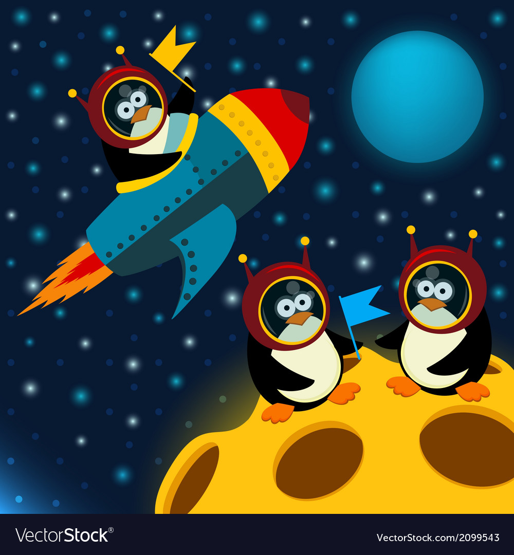 Penguin on moon vector | Price: 1 Credit (USD $1)