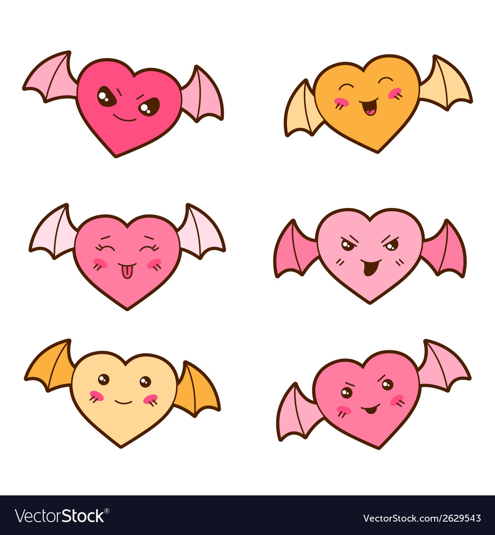 Set of kawaii hearts with different facial vector | Price: 1 Credit (USD $1)