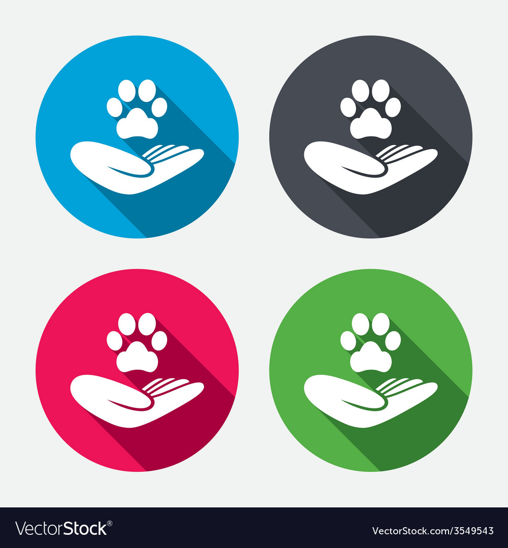 Shelter pets sign icon hand holds paw symbol vector | Price: 1 Credit (USD $1)