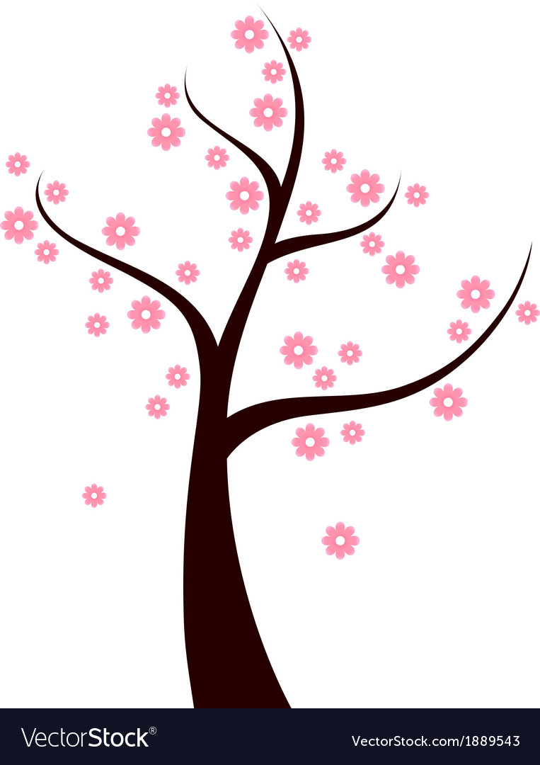 Spring tree with pink flowers isolated on white vector | Price: 1 Credit (USD $1)