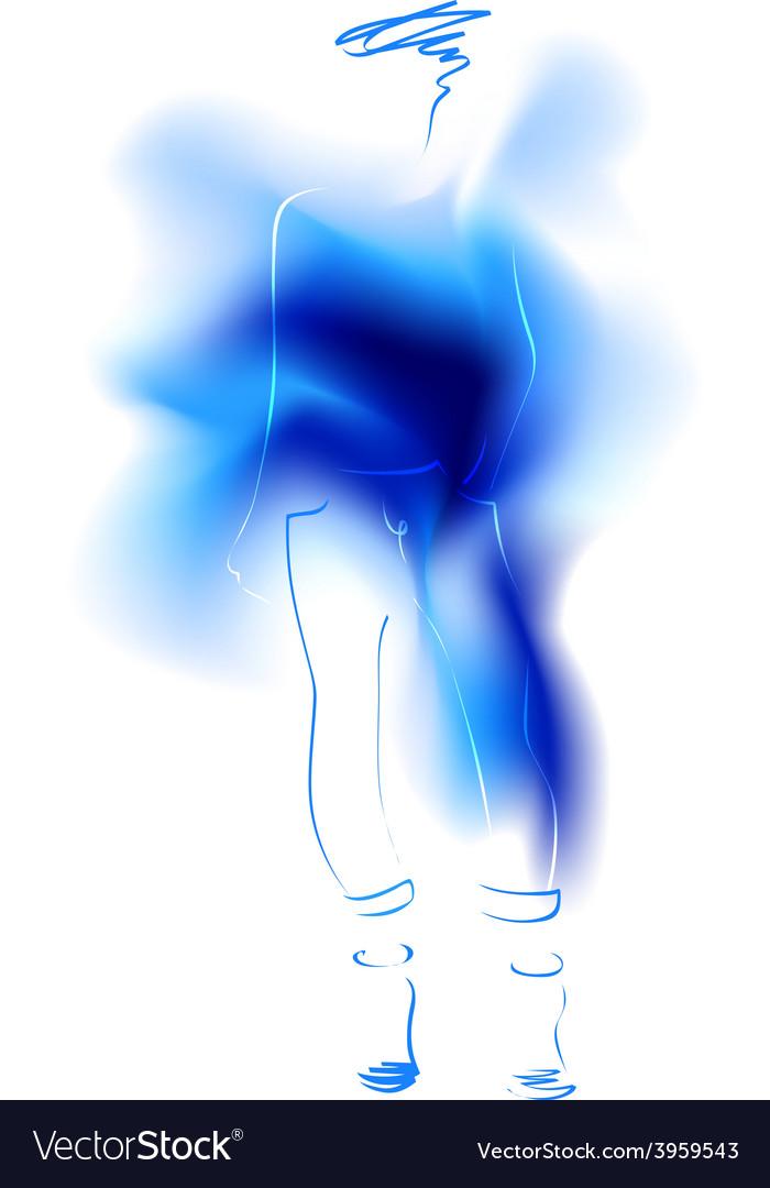 Watercolor sketch of a fashion model vector   Price: 1 Credit (USD $1)