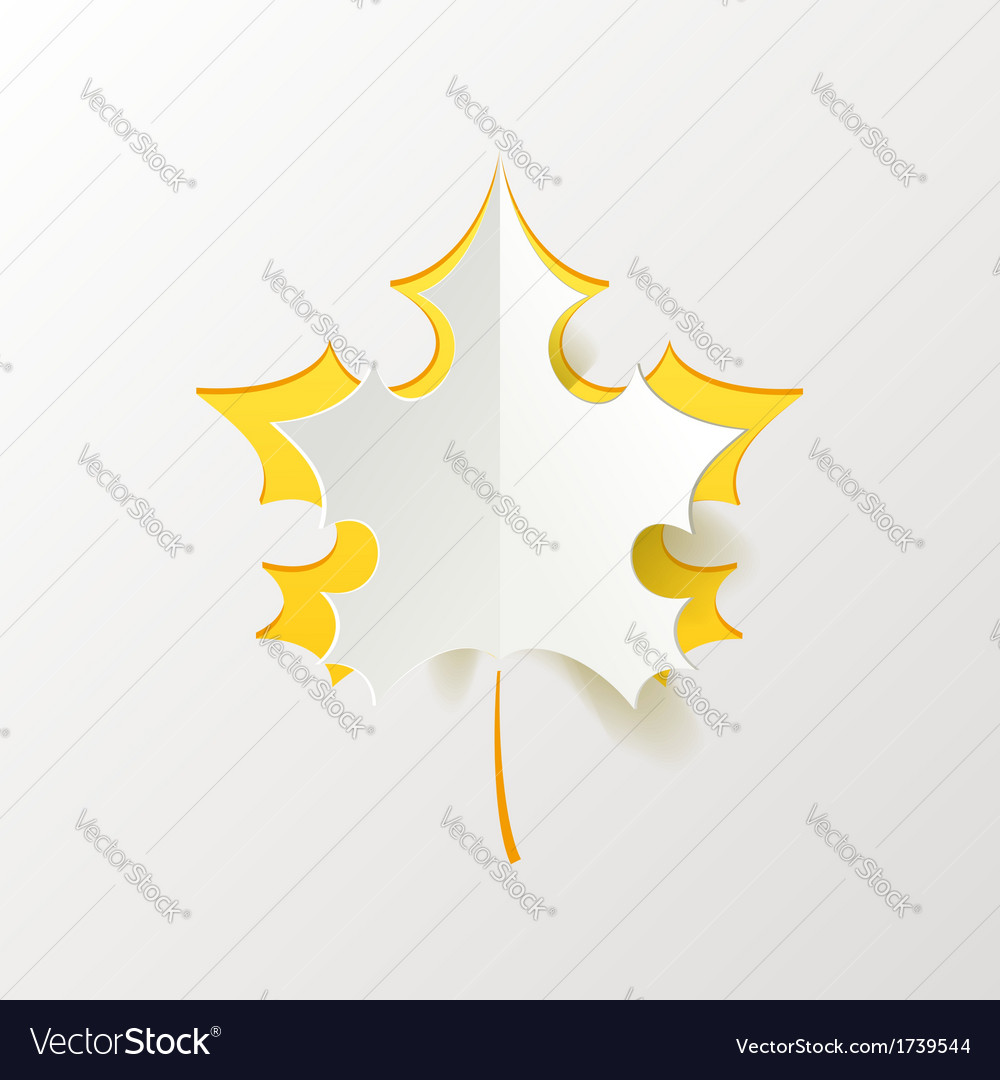 Abstract yellow maple leaf isolated on white vector   Price: 1 Credit (USD $1)