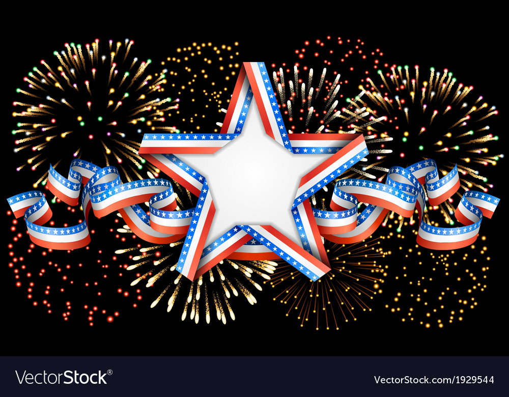 American background with star and fireworks vector | Price: 1 Credit (USD $1)