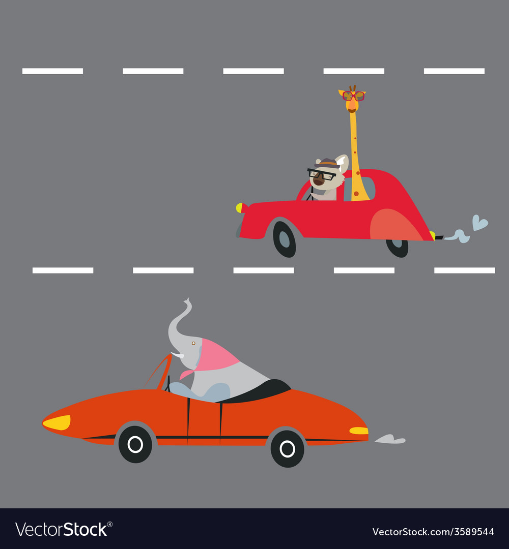 Animals on the road vector | Price: 1 Credit (USD $1)