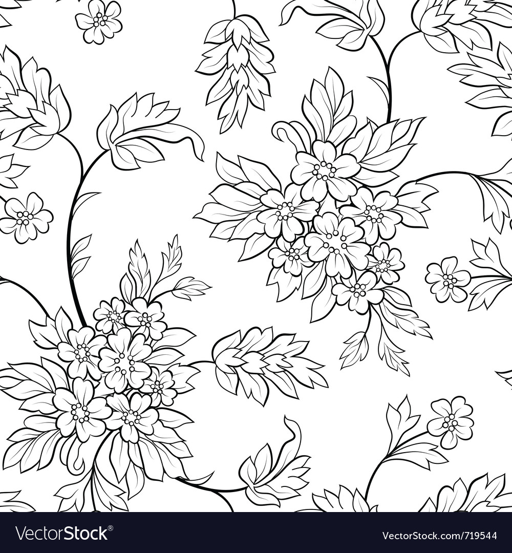 Black outline flower seamless vector | Price: 1 Credit (USD $1)