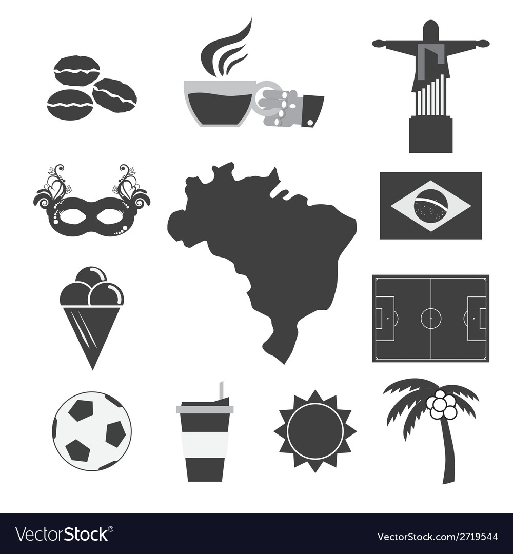 Brazil tourist attraction icons set vector | Price: 1 Credit (USD $1)