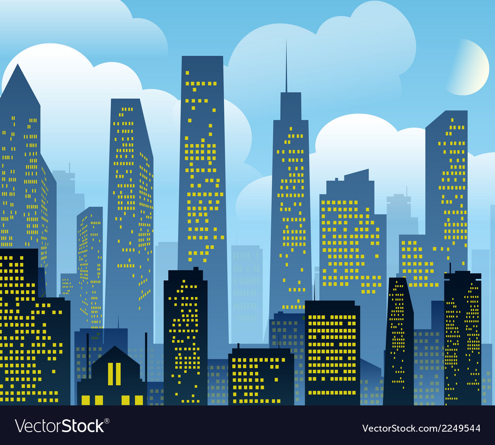 Cartoon city background vector | Price: 1 Credit (USD $1)