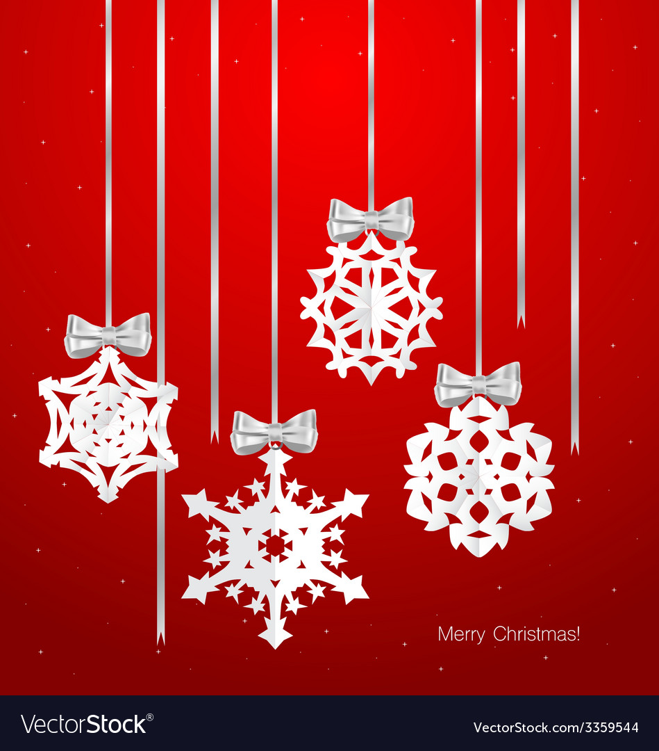 Christmas greeting card with origami snowflake vector | Price: 1 Credit (USD $1)