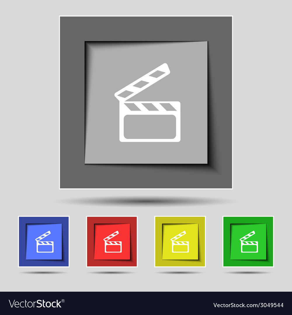 Cinema clapper sign icon video camera symbol set vector | Price: 1 Credit (USD $1)